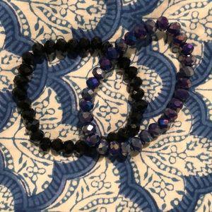 black and blue bracelet set